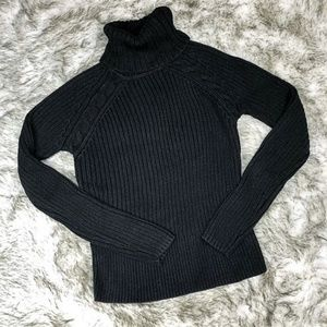 Brand New Black Turtleneck Cable Sweater (w/TAG)